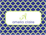 Prints Charming Note Cards/Stationery - Navy & Lime Greek Pattern (Folded)