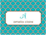 Prints Charming Note Cards/Stationery - Turquoise & Brown Greek Pattern (Folded)