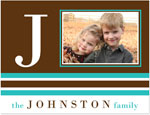 Prints Charming Note Cards/Stationery - Brown & Turquoise Modern Classic Initial Photo (Folded)