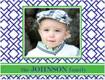 Prints Charming Note Cards/Stationery - Navy & Green Geometric Print Photo (Folded)