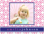 Prints Charming Note Cards/Stationery - Pink & Navy Geometric Print Photo (Folded) (SN1206)
