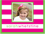 Prints Charming Note Cards/Stationery - Hot Pink Preppy Stripe Photo (Folded)