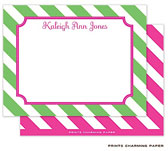 Prints Charming Note Cards/Stationery - Pink Frame on Green Diagonal Stripes (Flat) (EF2066)