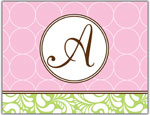 Prints Charming Folded Note Cards - Pink Chain Link-V (N9024)