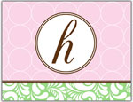 Prints Charming Folded Note Cards - Pink Chain Link-H (N9026)