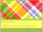 Prints Charming Folded Note Cards - Bright Plaid (N9038)
