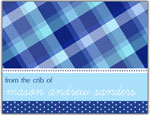 Prints Charming Folded Note Cards - Blue Plaid (N9039)