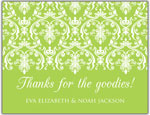 Prints Charming Folded Note Cards - Green Damask (N9067)