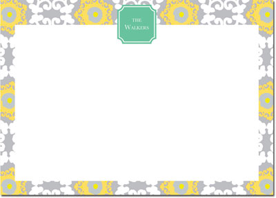 Whitney English Stationery/Thank You Notes - Modern Suzani Lemon (W24421)