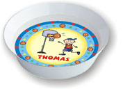 Pen At Hand Stick Figures - Melamine Bowls (Basketball)