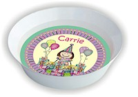 Pen At Hand Stick Figures - Melamine Bowls (Bday Girl 2)