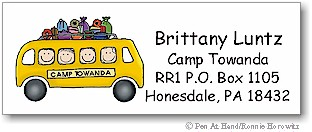 Pen At Hand Stick Figures - Camp Labels (Bus)