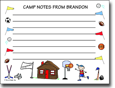 Pen At Hand Stick Figures - Camp Postcards (Sport Border)