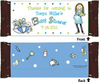 Pen At Hand Stick Figure Candy Wrappers - (Baby Shower - Boy)