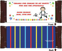 Pen At Hand Stick Figure Candy Wrappers - Create-Your-Own (Boy)