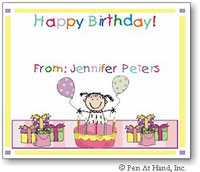 Pen At Hand Stick Figures - Gift Stickers - Cake Girl (Full Color)