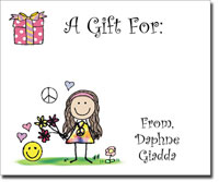 Pen At Hand Stick Figures - Gift Stickers - Peace Girl (Color)