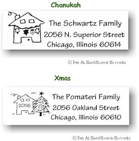 Pen At Hand Stick Figures - Holiday Address Label