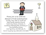 Pen At Hand Stick Figures - Invitations - Communion 3 (Boy)