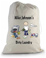 Pen At Hand Stick Figure College Laundry Bags - College Boy