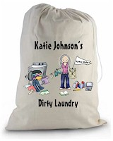 Pen At Hand Stick Figure College Laundry Bags - College Girl