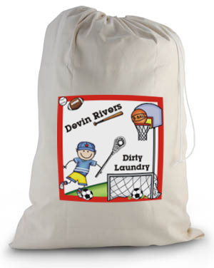 Pen At Hand Stick Figures - Laundry Bag (Sport - Boy)