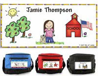 Pen At Hand Stick Figures - 6-Pack Lunch Sacks (Schoolhouse-girl)