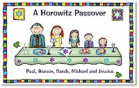 Pen At Hand Stick Figures - Laminated Placemats (Passover - Family)