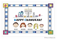Pen At Hand Stick Figures - Laminated Placemats (Chanukah)