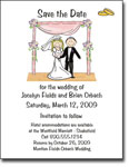Pen At Hand Stick Figures - Save The Date Cards (Wedding Chuppah)