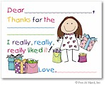 Pen At Hand Stick Figures - Fill-In Thank You Notes (Gift - Girl)
