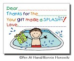 Pen At Hand Stick Figures - Fill-In Thank You Notes (Pool - Boy)