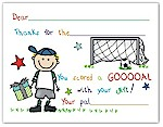 Pen At Hand Stick Figures - Fill-In Thank You Notes (Soccer - Boy)