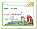 Pen At Hand Stick Figures Stationery - Swimming Pool Boy (Fill-In Thank You Notes)