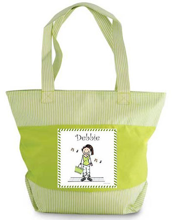 Pen At Hand Stick Figure - Zippered Tote Bag (MP3 Girl)