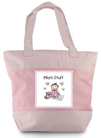 Pen At Hand Stick Figure - Zippered Tote Bag (Pink Baby Stuff)