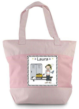 Pen At Hand Stick Figure - Zippered Tote Bag (Workout)