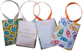 Fabric-backed Wine Tags by HB Designs