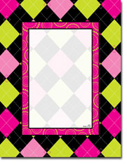 Paper So Pretty - Blank Designer Papers (Pink and Green Harlequin)