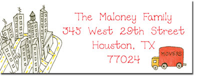 Blue Mug Designs Return Address Labels - Movin' to The City