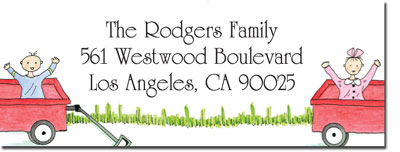 Blue Mug Designs Return Address Labels - Boy/Girl Twin Wagons