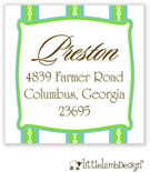 Little Lamb Design Address Labels - Blue and Green Striped