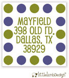 Little Lamb Design Address Labels - Blue and Green Dots