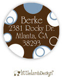 Little Lamb Design Address Labels - Blue and Brown Dots