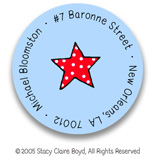 Stacy Claire Boyd Return Address Label/Sticky - Tiny Blue Dotty Stars
