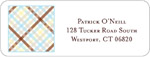 iDesign Address Labels - Criss Cross - Brown & Blue (Everyday)