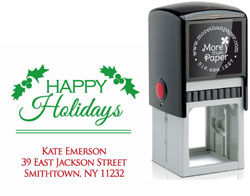 More Than Paper - Custom Self-Inking Stamps (Holly Happy Holidays)