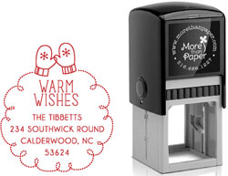 More Than Paper - Custom Self-Inking Stamps (Warm Wishes Mittens)