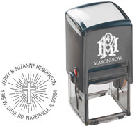 Mason Row - Square Self-Inking Stamp (Beaming Cross)