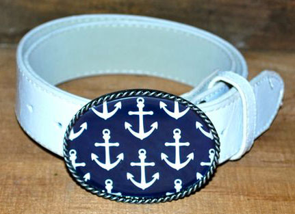 Anchor White with Navy Belt Buckles by Boatman Geller